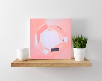 SALE: Pink abstract painting - tiny painting - modern minimal art - wood canvas - abstract art