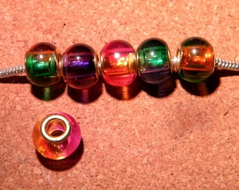 5 Pearl charm-European glass - 15 x 12 mm mixed color - PF153