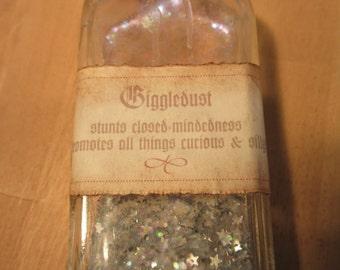 Giggle dust bottle, repurposed glass