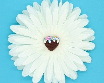SALE White Gerbera Daisy with Chocolate Cookie Icing Flower Hair Fascinator Clip
