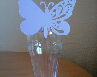 Mark up butterfly on purple glass