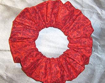Mistletoe Hair Scrunchie, Holiday Ponytail Holder, Christmas Hair Tie, Glittery Mistletoe in Red