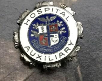 Vintage Sterling Silver Enamel Brooch Hospital Auxiliary Pin