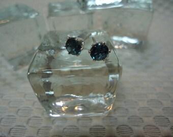 Round Cut London Blue Topaz Earrings in Sterling Silver  #2238