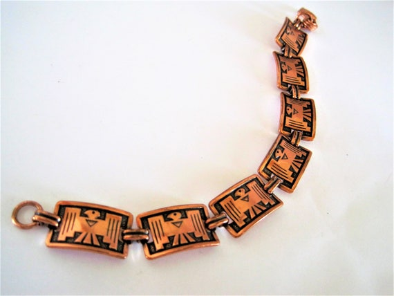 Copper Bracelet, Thunderbird Native American, Copper Links, Mid Century Geometric -