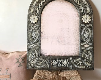 Moroccan silver plated mirror with bone inlay, handmade
