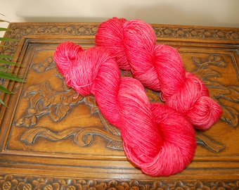 Pink Poinsettia, hand dyed wool/silk blend, yarn