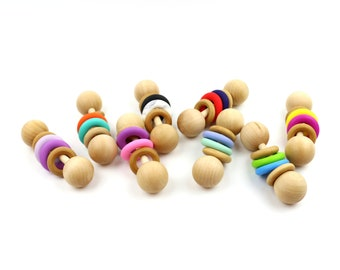 Classic Color Block Wooden Rattle - Baby Rattle, Montessori, Organic Baby Toy, Gender Neutral Gift