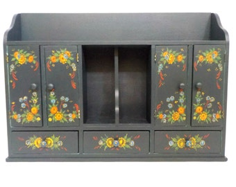 Large Vintage Wall Cabinet, Spice Apothecary Cabinet, Hand Painted, Folk Art, Tole Painting, Farmhouse or Cottage Decor