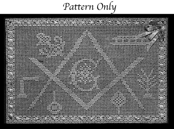 1918 Masonic Filet Crochet Pattern Masonic Charted Design For