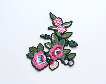 Flower Embroidered Applique, Iron on Patch