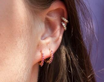 Small Ruby cz gold hoops - tiny gold hoop earrings - small hoop earrings - tiny gold hoops - cartilage hoops - Ruby - hoop -E1-HU-0387RUB
