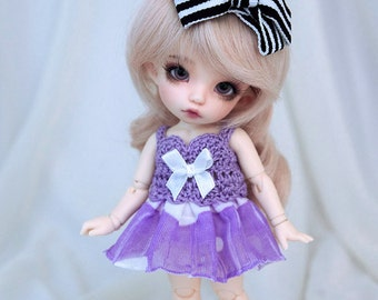 Purple-white ruffle dress for PukiFee, Lati Yellow