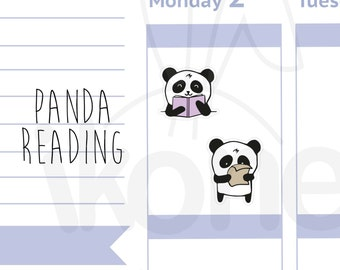 Boo The Panda - Books Planner Stickers, Cute panda Reading Planner Stickers