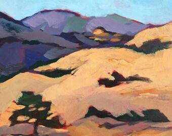 Original Acrylic Painting, California golden hills, oak trees,  by Erica Goebel, Sagetrim