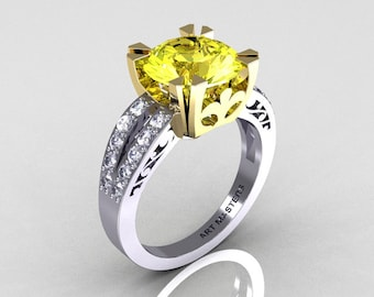 Modern Vintage 14K Two Tone Gold 3.0 Carat Yellow and White Diamond Solitaire Ring R102-14KTTGDYD