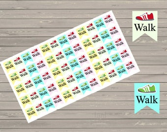 Walk Stickers, Fits Erin Condren Planner, Stickers, Exercise Stickers