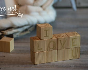 "Wooden stacking blocks ""I love u' / set 12 pices"