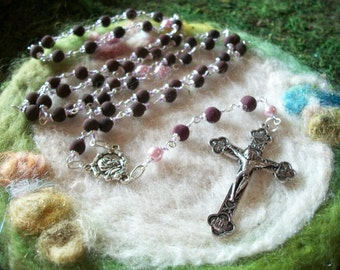 Rosary with Handmade Real Rose Petal Beads, Handmade to Order