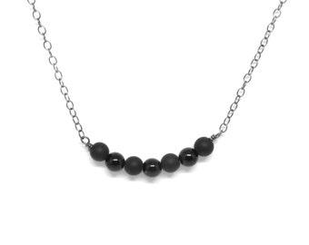 Black on Black: Matte and Polished Onyx Necklace