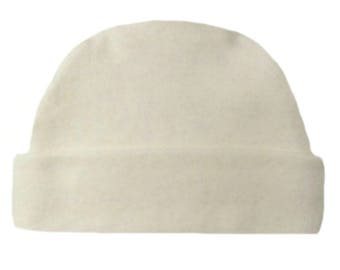 Ivory Capped Baby Hat. 100% Cotton Knit. Double Thick with a Built in Cap to Stay on Baby's Head. Preemie, Newborn Sizes to 6 Months