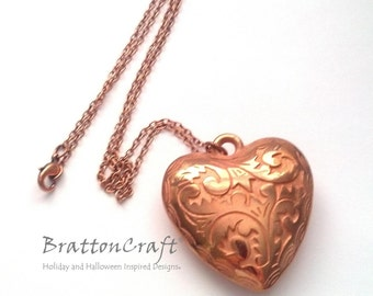 Large Copper Heart Necklace - Large Heart Necklace - Copper Heart Necklace - Valentine Necklace - Valentine's Day Necklace