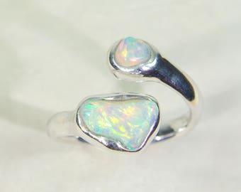 Flashy jewelry beauty! Opal double ring, double welo opal ring, Ethiopian opal ring, opal silver ring, opal engagement ring, opal jewelry