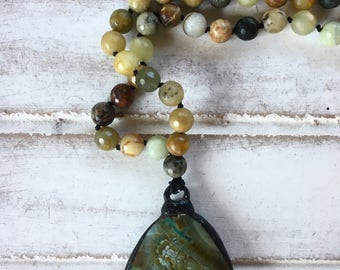 """Mixed Jade Stone Necklace, Green Agate Pendant, 36"""" Long, Hand Knotted, Spiritual, Yoga Jewelry 