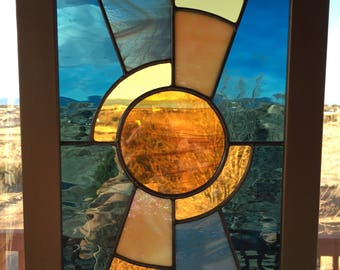 Stained Glass Window Panel, Stained Glass Panel, Stained Glass Hanging, Stained glass Sun, Abstract Stained Glass, Art, Mother's Day Gift