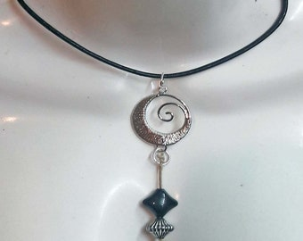 Aztec moon pendant,native,ethnic,silver plated,necklace,leather necklace, moon,spiritual,gift