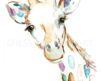 Joshua the Giraffe Watercolor Print, Print of Giraffe, Watercolor Giraffe, Watercolor Animal Print, Giraffe Painting, Nursery Art