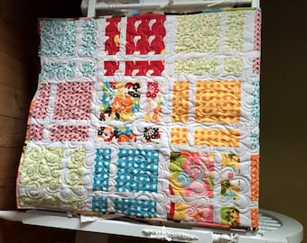 Moda Oh Deer! Baby/ Toddler Quilt featuring Deer, Song Birds, Polka Dots and more in a bright cheery lattice pattern- Ready to Ship!