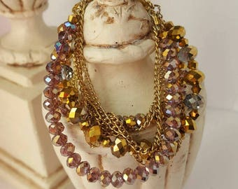 Multistrand Beaded Bracelet with Faceted Glass Beads and Gold Clasp