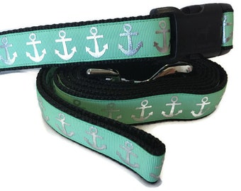 Dog Collar and Leash, Foil Anchors Sea Green, 6ft leash, 1 inch wide, adjustable, plastic buckle, metal buckle, chain, martingale