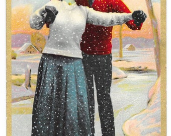 Amorous Ice Skaters Photo Postcard, 1911