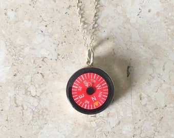 Compass Necklace Red Working Dial  Sterling Silver Setting