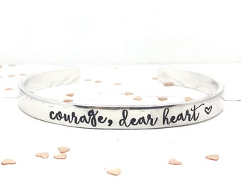 Courage Dear Heart, CS Lewis, Narnia, Hand Stamped Skinny Stacking Cuff