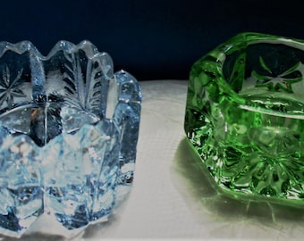 Cut Glass and Vaseline Glass Salt Cellars/Ring Holders: Either Westmoreland, Paden City, Cambridge or Summit Art Glass