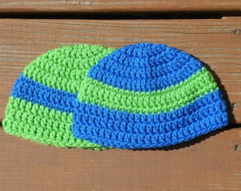 Striped Caps, Two Hats, Baby Beanies, Toddler Crochet, Baby Boy, Green Hat, Blue Cap, Toddler Boy, Boy Stuff, Two Hats, Matching Hats