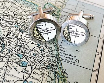 Custom Vintage Map Cuff Links - You Pick Cities - Gift for Dad - Personalized Map Cufflinks - Wedding - Groomsman