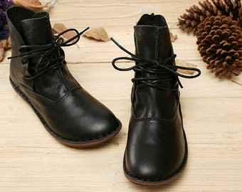 Handmade Shoes,Black Ankle Boots,Oxford Women Shoes, Flat Shoes, Retro Leather Shoes, Casual Shoes, Short Boots,