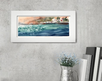 Seascape ORIGINAL Watercolor Painting, City and Sea Painting, Nautical Watercolour Art, Nautical Modern Painting