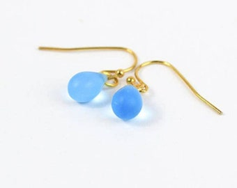cobalt blue earrings girlfriend earrings for her mom sister appreciation gift for teacher waterdrop 14K gold jewelry  пя161