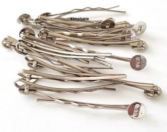 Silver Bobby Pins Hair Pins w/ Glue In Pad 20 Pcs