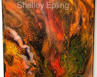Dragon Lava acrylic painting by Shelley Epling 8x10