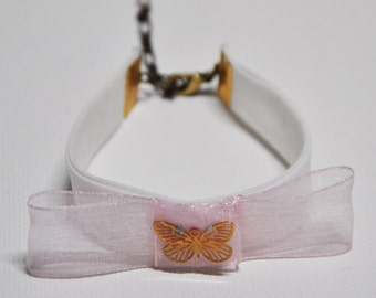 Bracelet, organza bow and golden butterfly