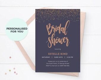 Bridal Shower invitations Printable Bridal Shower invites, Custom bridal shower invites, Copper bridal shower invites Elegant shower invites