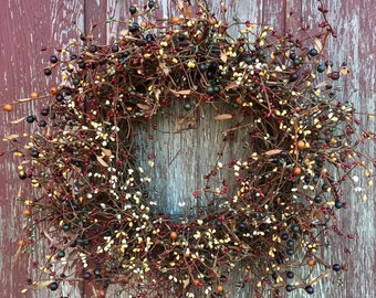 Mixed Pip Berry Wreath, Fall Wreath, Autumn Wreath, Country Decor, Primitive Decor, Front Door Wreath, Rustic Wreath, Free Shipping