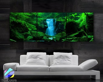 """LARGE 20""""x 60"""" 3 panels Art Canvas Print  Waterfall Cascade trees Wall (Included framed 1.5"""" depth)"""
