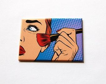 Makeup mirror, Large Pocket mirror, Purse mirror, glass mirror, mirror, rectangle mirror, putting on makeup, blush, Cartoon Design (5924)